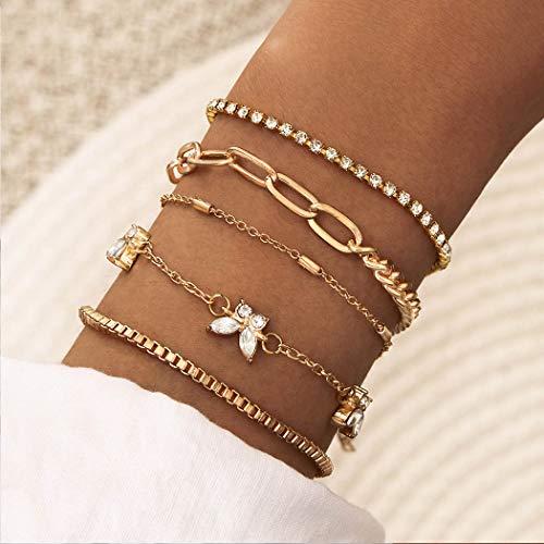 Handcess Juego de pulseras bohemias con diseño de mariposas, cuentas de cristal dorado, cadena de mano, accesorios para mujeres y niñas (5 piezas)