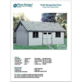 Utility Shed Building Plans Blueprints Do It Yourself Diy 16 X 24 Reverse Gable Roof Style Design D1624g Amazon Com