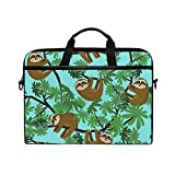TFONE Hippie Funny Animal Sloth Laptop Bag Case Sleeve Briefcase Waterproof Shoulder with Strap for Ultrabook Notebook 13 Inch-14.5 Inch