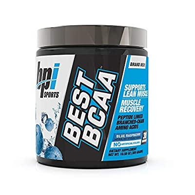 BPI Sports Best BCAA - BCAA Powder - Branched Chain Amino Acids - Muscle Recovery - Muscle Protein Synthesis - Improved Performance – Hydration – Blue Raspberry - 30 Servings - 10.58 oz.