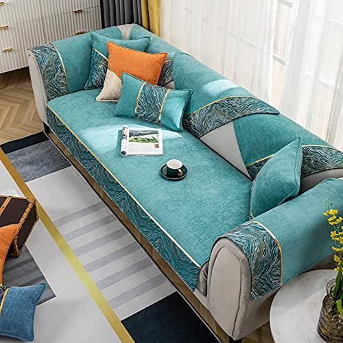 Fsogasilttlv Asiento Forro de Sofá Doméstico para sofá de Dos plazas, Fundas de Chenilla para sofá, cojín, sofá, Toallas, Fundas de sofá para Sala de Estar, Azul 110 * 110 CM