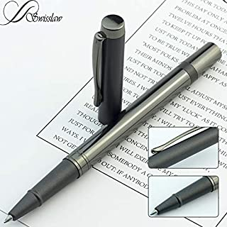 Swisslaw Luxury Fancy Rollerball Pen | Executive Branded Modern Writing Pens with Black Gel Ink and Luxury Gift Box Set | Modern Business Pen Set | Black Metallic Color