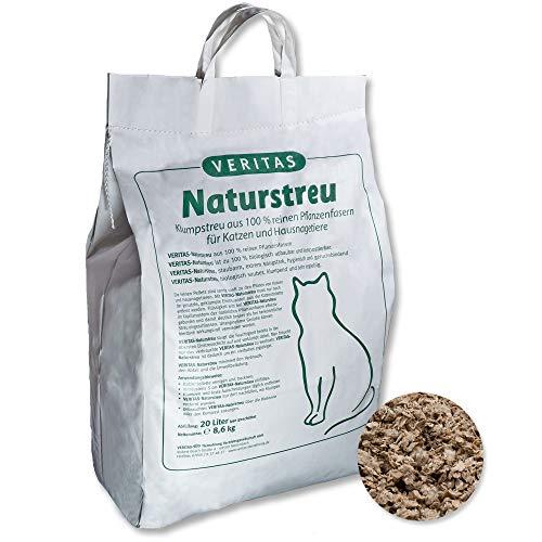 veritas Naturstreu Katzenstreu für Katzen & Nagetiere – natürliches, staubfreies & saugstarkes Klumpstreu I Natur Einstreu Katzentoilette Katzenklo (20 Liter)