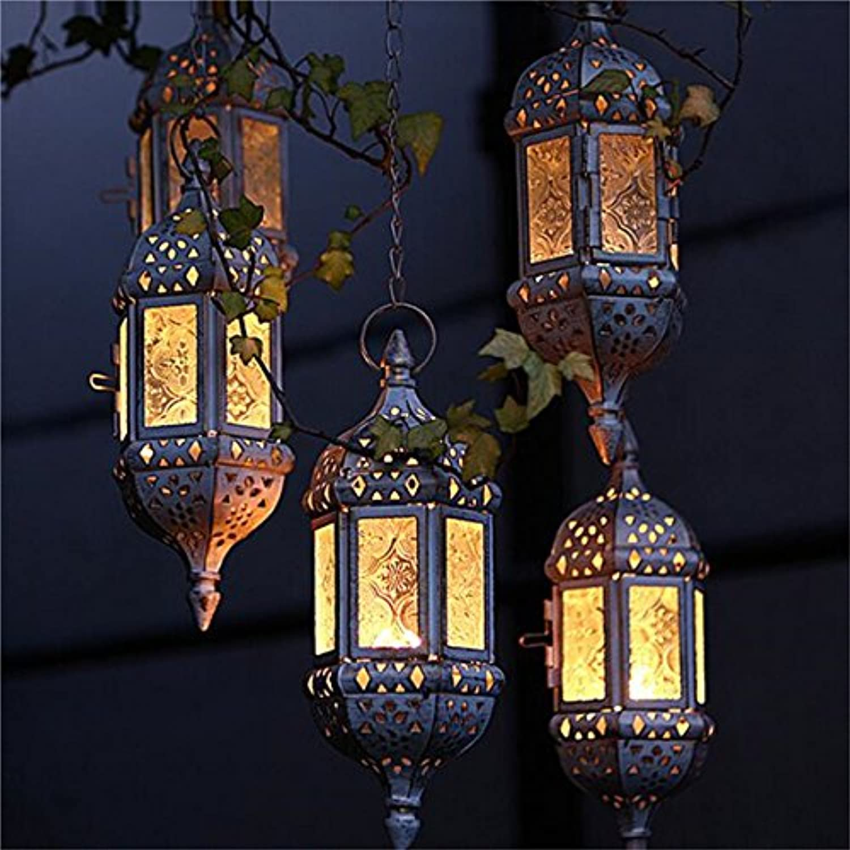 QIZIANG Retro Glas Eisen marokkanischen hängenden Kunst Laterne Tee Pendelleuchte Halter Hausgarten Dekor Hot (Farbe   braun) B07L26XVTM  | Die erste Reihe von umfassenden Spezifikationen für Kunden