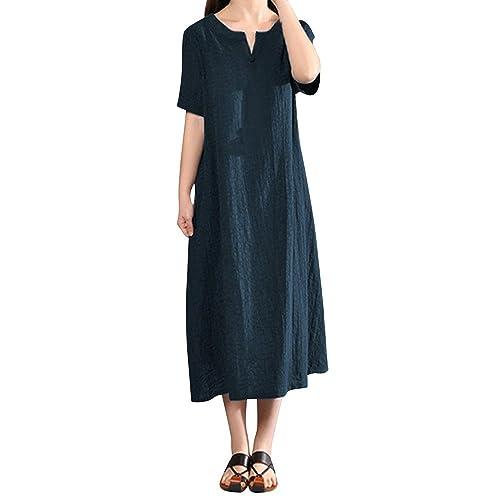 7c2076895 Lolittas Summer Maxi Cotton Linen Dresses for Women, Vintage V Neck  Occasion Prom Cocktail Tunic