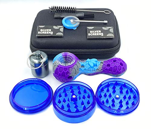DTRD Blue&Purple Silicone Straw Set, 7-Piece Perfect Travel Kit