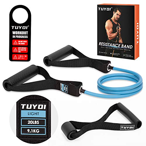TUYOI Resistance Band Set with Handles for Fitness Exercise Home Workout Resistance Training Yoga Pilates BLUE20LBS