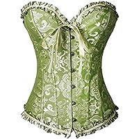 FeelinGirl Vintage Brocado Encaje con Cremallera y Cinta Ajustable Corsé para Mujer Verde Olivo S/ES 32