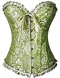 FeelinGirl Vintage Brocado Encaje con Cremallera y Cinta Ajustable Corsé para Mujer Verde Olivo 4XL/ES 46