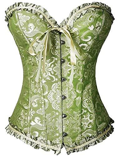 FeelinGirl Frauen Bridal Wäsche schnürt sich oben Satin ohne Knochen Korsett mit G-Schnur M Grün