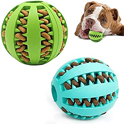 Dog Treat Ball, 2 Pack Dog Ball Toys for Pet Tooth Cleaning, Nontoxic Bite Resistant Toy Ball for Small Medium Large Dogs Teeth Cleaning Chewing Training IQ Training