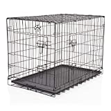 "COZY PET Dog Cage 36"" Black ABS Tray Folding Puppy Crate Cat Carrier"
