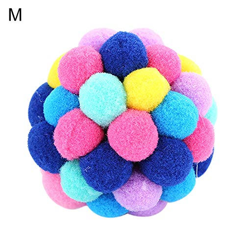 hbz11hl Interactive Cat Toys丨The Best Entertainment Exercise Gift for Your cat丨Pet Cats Kitten Handmade Bells Bouncy Ball Molar Chewing Interactive Play Toy丨100% Cat Safety Multicolor M