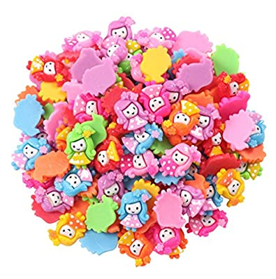 50pcs Mix DIY Flatback Resin Girl Buttons Flat Back Scrapbooking Resin Flatback Craft Embellishments Accessory
