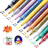 STA Acrylic Paint Marker Pens 12 Colors Medium Point Tip Art Markers for DIY Glass, Ceramic, Rock, Wood, Canvas, Metal, Fabric, Highly Pigmented Acrylic Pens