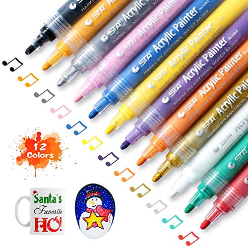STA Acrylic Paint Marker Pens 12 Colors Medium Point Tip Art Markers