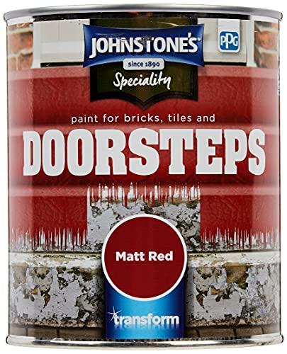Johnstone's 307950 Paint for Bricks, Tiles and doorsteps Matt Red, 750ml