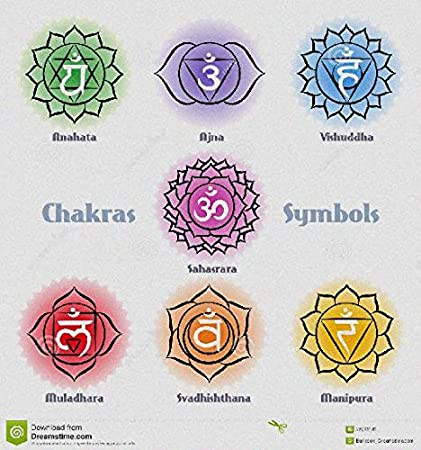 Oval Shape FASHIONZAADI 7 Chakra Karuna Reiki Stone Set with Sanskrit Power Symbol For Chakras Balancing Reiki Charged Gift Crystal