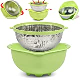 WQGRLLR 2 in 1 Stainless Colander Steel Degree Rotational Collapsible Self-draining Strainer and Washing Bowl Basket Set for Fruit Vegetable Pasta Spaghetti Grains Fruits Salads (green)