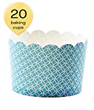 Simply Baked Jumbo 8 Ounce Disposable Paper Baking, Party, Treat, Candy, Cupcake, Muffin and Snack Cups, 20-Pack, Turquoise Medallian