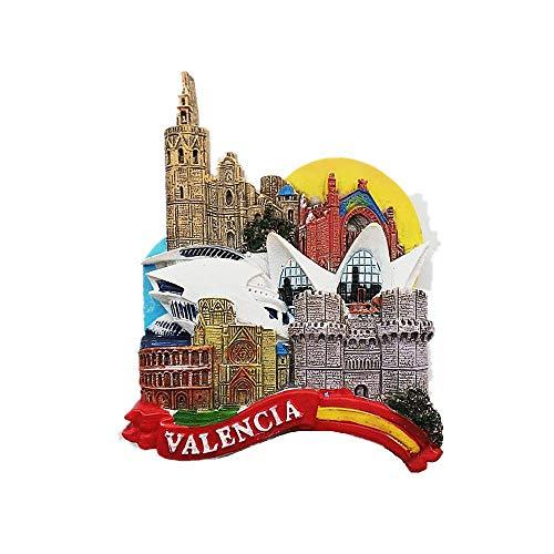 Imán para nevera en 3D de Valencia España para viaje, colección de regalos de recuerdo, decoración del hogar y la cocina, pegatina magnética para nevera