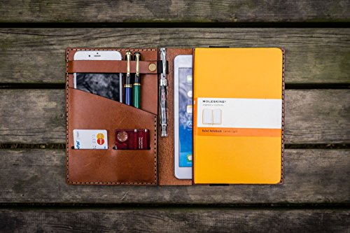 iPad Mini & Large Moleskine Cover - Brown - Leather Travel journal