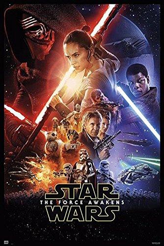 Star Wars Episode 7 Poster - Großformat (61 x 91,5cm) Hauptplakatmotiv + 2 St. Schwarze Posterleisten mit Aufhängung