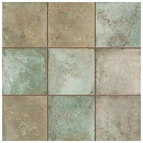 Somertile FPE13KETS Kings Etna Encaustic Sage Floor and Wall Ceramic Tile, Green
