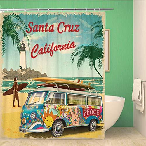 Awowee 66x72 Inches Shower Curtain Beach Santa Cruz California Retro Vintage Surfer Van Surfing Waterproof Polyester Fabric Bath Bathroom Curtain Set with Hooks