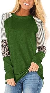 Heat Move Women Long Sleeve Leopard Color Block Tunic Tops for Leggings Stripe Round Neck Shirt
