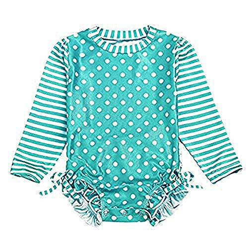 Baby/Toddler Girl Swimsuit Long Sleeve One-Piece Swimwear Rashguard UPF 50+ Sun Protection Rash Guard Green