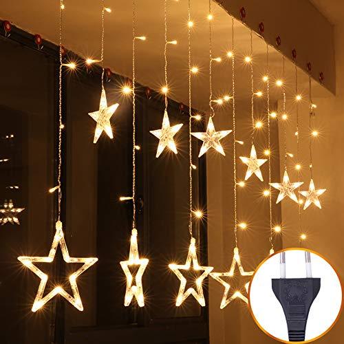 Led-lichtsnoer, gordijn, ramen, tuin, buiten, sprookjes, lichtsnoer, tuin, zomer, sterren met vijf takken, ijsstangen, verlichting voor slaapkamer, Kerstmis, warmwit, acht functies