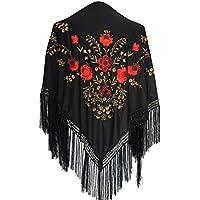 La Señorita Mantones bordados Flamenco Manton de Manila negro rojo oro