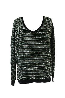 Sanctuary Women's Long Sleeve V-Neck Marled Knit Sweater Black XS