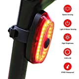 G Keni Smart Bike Tail Light Rechargeable Ultra Bright Bicycle Rear Light Speed Sensing Bike Light, Easy Mount High Lumen Rear Light Sense Auto On/Off Red Flashing Safety Cycling Flashlight on Helmets