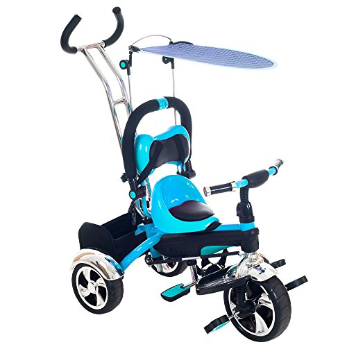 Tricycle Stroller Bike, 3-1 Stroller with Removable Canopy and Stroller Organizer by Lil' Rider, Ride on Toys for Boys and Girls, 1 - 5 Year Old, Blue