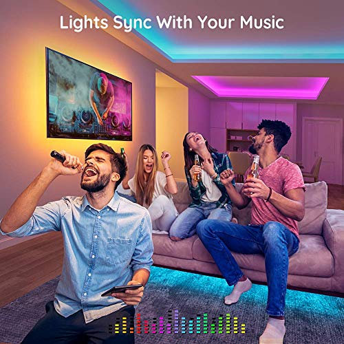 Govee Led Strip Lights 32.8 Feet, for Bedroom, App Control, Works with Alexa Google Assistant 3