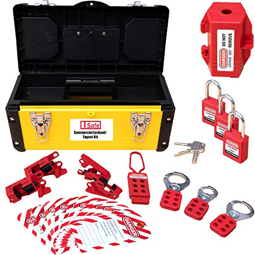 TSafe Commercial Lockout Tagout Kit- with Locks, Breaker Lock Outs, Plug Loto, Hasps, and Tags