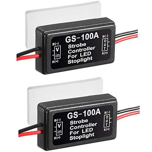 Greluma 2 Piezas GS-100A Módulo Intermitente de Controlador Estroboscópico Flash Impermeable para Luz de Freno Trasera LED 12V-24V