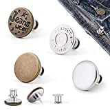 [Upgrade]4 Pcs Button Pins for Jeans,Replacement Jean Button Pins Removable Adjustable Instant Pant Button Extend Reduce Pant Waist Tightener Metal Clips Snap Tack No Sew No Tool(Plastic Storage Box)