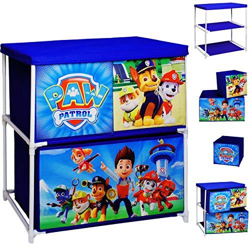 alles-meine.de GmbH Kinderregal mit 3 Aufbewahrungsboxen - Paw Patrol - Hunde - 60 cm - für Kinder - Boxen aus Stoff - Kommode / Regal / Kindermöbel für Jungen - Kinderzimmer - S..