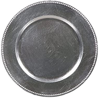 Palais Dinnerware 'Plaque De Charge' Collection - 13  Elegent Charger Plate (4, Silver with Bead Finish)
