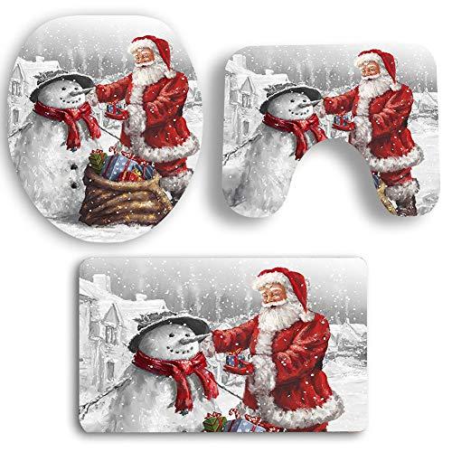 BONNIO 3 Piezas de Navidad Santa Claus y muñeco de Nieve WC Cubierta del Asiento y alfombras Decorativos Set de...