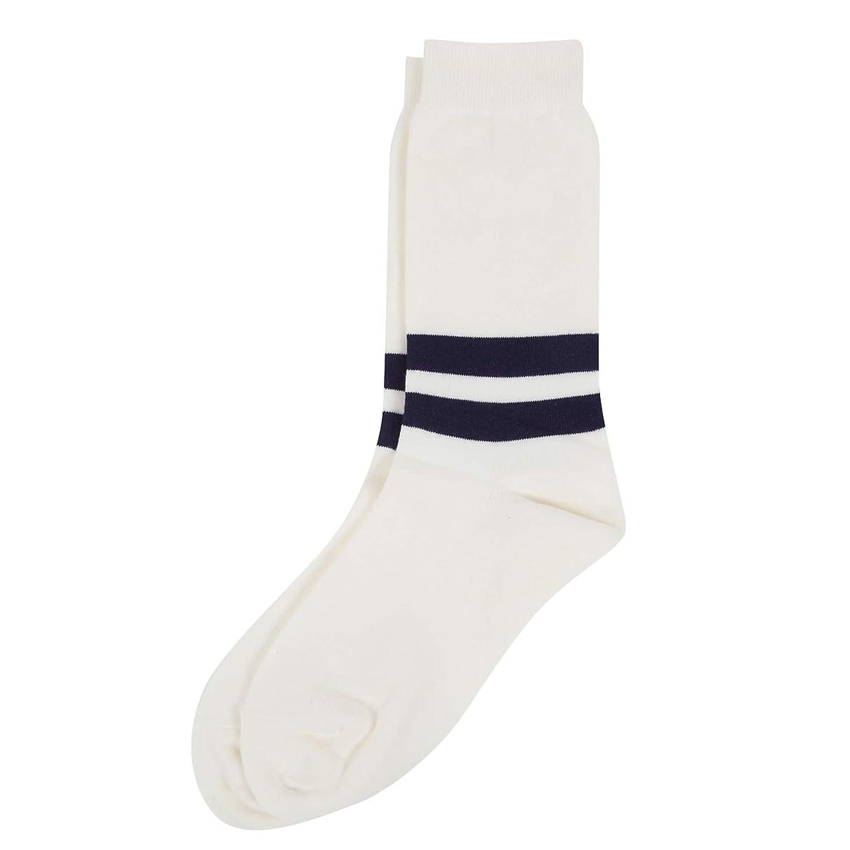 砂の四半期音楽を聴くDeol(デオル) ラインソックス 男性用 メンズ [足のニオイ対策] 長期間持続 日本製 無地 靴下 白 25cm-27cm