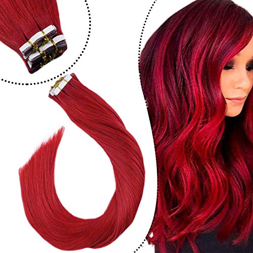 Ugeat Tape ins Skin Weft Seamless Hair Extensions Echtaar 60cm Remy Glue in Human Hair Haarverlangerung Double Sided Tape Tabs (Farbe: Rot, 25Gramm/10Stuck)