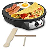 Nonstick 12-Inch Electric Crepe Maker - Aluminum Griddle Hot Plate Cooktop with Adjustable...