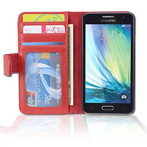 Cadorabo Custodia Libro per Samsung Galaxy A3 2015 in Rosso Cremisi - con 3 Vani di Carte e Chiusura Magnetica - Portafoglio Cover Case Wallet Book Etui Protezione