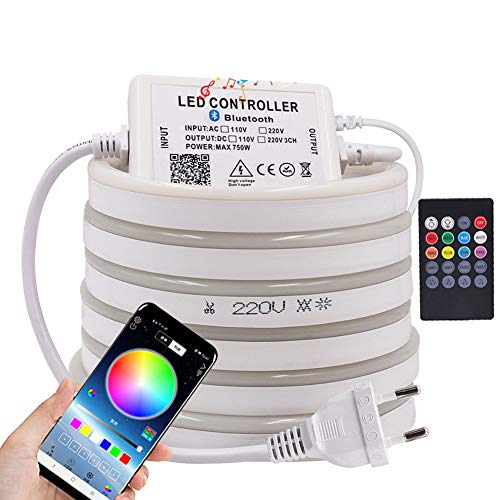 XUNATA Bluetooth luz Flexible LED Neon Musica, 220V 5050 60 LEDs/m RGB Tira LED + Control Remoto, IP67 Impermeable Interior Intemperie Escalera de Techo Luces Decoración - 1m