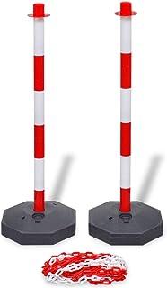 vidaXL Set Stradale 2 Pali con Catena di Plastica 10 m Segnaletica Traffico