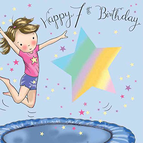 Twizler Geburtstagskarte, Motiv: Mädchen mit Trampolin, für den 7. Geburtstag